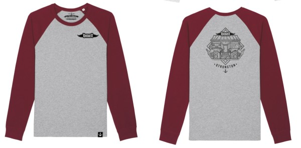 long sleeve grau-burgundy